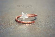 Copper Swirl Midi Ring with Sterling Silver Star by TheFloweredFox, $19.95  www.thefloweredfox.etsy.com