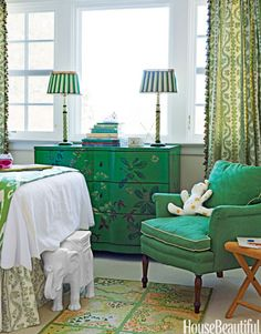 The inspiration for the girls' room in a Colonial Revival house in Lattingtown, New York, was their green chest.