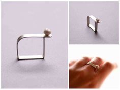 New work: square ring made of sterling silver and mother of pearl. http://vadjutka.hu/eng/jewelry/sterling-silver-design-jewelry/