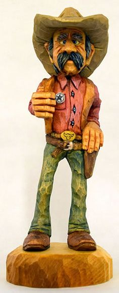 The Marshall by Dale Green Woodcarving Wood Carving Designs, Wood Carving Patterns, Cigar Store Indian, Cowboy Pictures, Cowboy Art, Whittling, Wood Carvings, Wood Sculpture, Wood Blocks