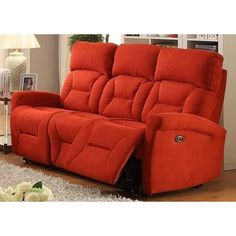 Sunset Trading Holland Power Reclining Glider Sofa with USB In Hugo Red - EL-9118S31P from BEYOND Stores