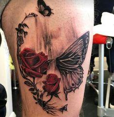 tattoo # smalltattoos tattooart # tattooquotes # watercolortattoo # minimalisttattoos # tattoosforwomensmall # tattooinspiration This image. Upper Half Sleeve Tattoos, Unique Half Sleeve Tattoos, Half Sleeve Tattoos Designs, Unique Tattoos, Tattoo Designs, Skull Butterfly Tattoo, Skull Rose Tattoos, Body Art Tattoos, Skull Thigh Tattoos