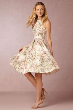 floral patterned fit and flare dress | Gardenia Dress from Adrianna Papell for BHLDN