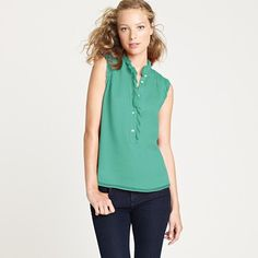 Natasha top $69.50 from J.CREW Crafted in crinkled silk chiffon in a pint-box palette of colors, it's our go-to blouse for instant frills (the pretty popover silhouette is trimmed with tissue-like ruffles, finished with a raw edge for a touch of texture).