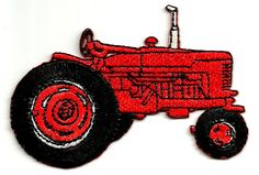 Farm Tractor Red Fully Embroidered Iron On Patch Applique