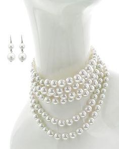 Classic 8mm Pearl Necklace & Earring Set