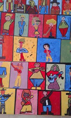 cuadro con acrilico sobre tela recreando los musicos de petorutti.
