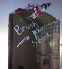 Easy Elf on the Shelf brush your teeth Idea and 134 Simple Elf on the Shelf Ideas