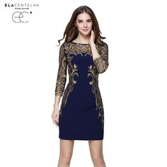 ElaCentelha Autumn Women Fashion Slim Embroidery Flare Lace Mesh Patchwork Dress Three quarter Sleeve O-Neck Dresses