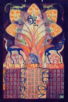 kalender 1932. juli,augustus, september. Leo Visser (illustrator)