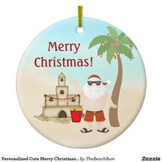 Personalized Cute Merry Christmas Santa Beach Double-Sided Ceramic Round Christmas Ornament
