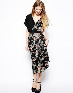 ASOS   ASOS Midi Dress With Cross Front In Vintage Floral at ASOS