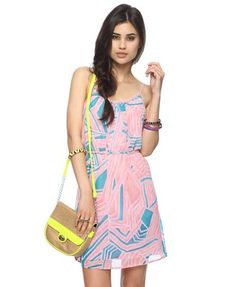 Abstract Print Chiffon Dress w/ Belt | FOREVER21 - 2076806927