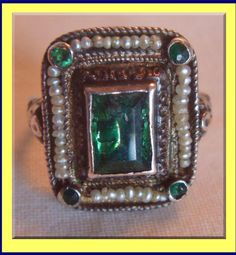 Emeralds with seed pearls