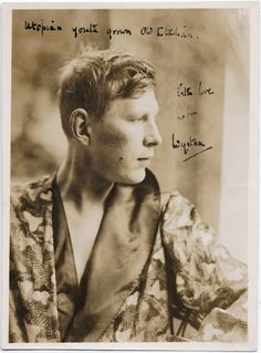 "Photograph of W.H. Auden in profile, with inscription ""Utopian youth grown old Italian. With love from Wystan"""