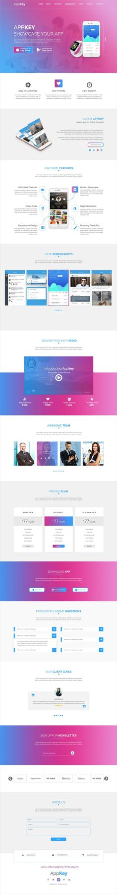 Appkey is clean and modern design #PSD template for creative onepage #app landing page #website to live preview & download click on Visit