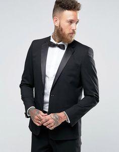 e7703f0b9b9 ASOS Slim Tuxedo Suit Jacket in Black - Black Tuxedo Suit