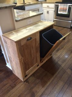 March Sale Double trash recycle bins rustic tilt out by Kitchen trash cans, Trash Diy Kitchen, Kitchen Storage, Kitchen Decor, Kitchen Garbage Can Storage, Kitchen Bins, Kitchen Organization, Kitchen Cabinets, Trash And Recycling Bin, Trash Bins