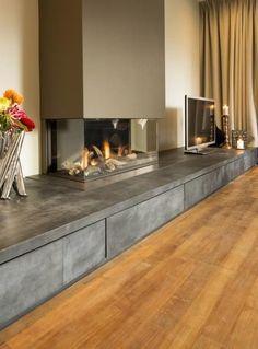 Fireplace Bookshelves, Shiplap Fireplace, Fireplace Mirror, Fireplace Hearth, Home Fireplace, Fireplace Inserts, Living Room With Fireplace, Fireplace Design, Living Room Kitchen