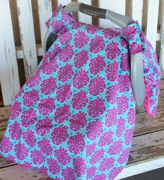 pink and teal damask and pink minky back Infant Car Seat Canopy Cover Teal And Pink, Hot Pink, Pink Damask, Canopy Cover, Baby Car Seats, Infant, Teak, Safety, Design