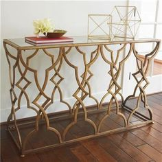 Currey-and-Company-Arteriors-Horchow-Look-Antique-Gold-Console-with-Mirrored-Top