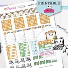 Etsy Shop Stickers,   Kawaii Printable Planner Stickers, Etsy Orders, Processing Orders Stickers, Cute Notebook Stickers, Erin Condren K011
