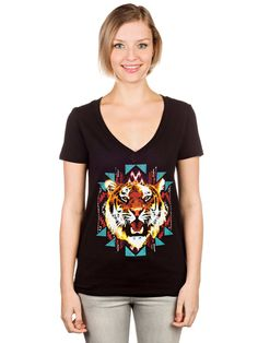 <strong>Empyre Textile Tiger V-Neck T-Shirt</strong><br>If you are on the prowl for a fresh look, pounce into this slim fit v-neck tee that features a textile tiger graphic printed on the front.<br><ul><li>Slim girly fit with deep v-neckline.</li><li>Screen print graphic at front.</li><li>Soft and stretchy construction for comfort.</li><li>100% cotton.</li><li>Imported.</li></ul>