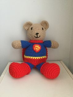 """When finished, this super-heroic Superman Bear will be 12.5"""" x 5""""."""