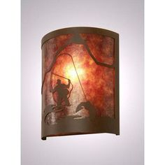 Steel Partners Fly Fisherman Timber Ridge 1 Light Wall Sconce Shade Color: White Mica, Finish: Rust