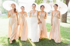 Like the idea of umbrellas vs flowers to carry in a summer/spring wedding. AND love The ONE Dress Convertible Dress multi wrap infinity wear LONG Bridesmaid gown Infinity Dress Bridesmaid, Short Bridesmaid Dresses, Wedding Bridesmaids, Wedding Dresses, Champagne Bridesmaids, Infinity Gown, Infinity Wedding, Convertible Dress, Ballroom Wedding