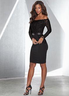 Black Lace illusion dress, strappy sandal | VENUS