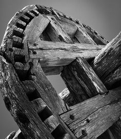 Life is not black and white, but today's photo is ;-) Part of the gears of an old windmill here on Santorini.