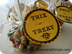 Trix or Treat - free printable labels, make Krispie Treats with Trix and shape into balls, so cute for preschool classmates!