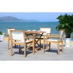 Safavieh Chante Teak 35.4-Inch Dia Round Table 5 Piece Dining Set