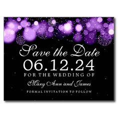 Elegant Winter Save The Date Purple Lights Post Card