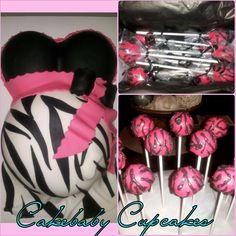 Our Baby Bump Cake/Cakepop Party Package! Vanilla Bean Zebra themed Baby Bump Cake. Strawberry Cheesecake and Brownie Cheesecake Cakepops in coordinating Zebra theme. #cakebabycupcakes #cakepops #cake #BabyShower #PartyPackage #Atlanta #Delivery