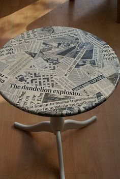 Materials: DALOM Pedestal table, Newspaper cuttings, PVA glue, paint brush and clear varnish. Description: I had just discovered decoupage and rather than have Decoupage Furniture, Upcycled Furniture, Furniture Projects, Furniture Makeover, Home Projects, Painted Furniture, Diy Furniture, Ikea Makeover, Deco Dyi