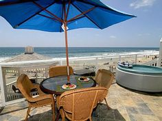 beachfront vacation rental - oceanfront patio with private spa All booked, but would be great.
