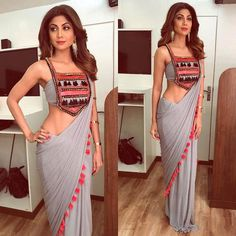 Shilpa Shetty Kundra gives us some major sari goals by her aesthetic sari sense and style. Here are the top five of her sari looks which are must in Sari Design, Saree Blouse Patterns, Saree Blouse Designs, Emma Roberts, Indian Dresses, Indian Outfits, Jessica Parker, Stylish Blouse Design, Victoria Beckham