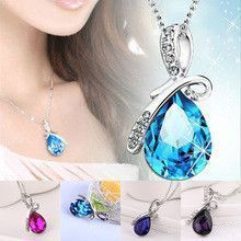 Turquoise Crystal Necklaces Pendants 18K Gold Or Silver Plated Jewellery & Jewerly 2016 Necklace Women Fashion Jewelry Wholesale