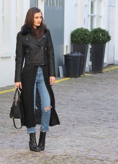 Turn your jacket into a coat by adding a long cardigan underneath. Peexo personal style.
