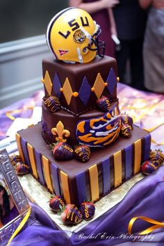 GROOM'S CAKE Sports Cake Toppers LSU TIGERS | Photo: LSU Tigers groom's cake and wedding cake are deliciously ...
