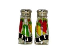 ArtisanStreet's Salt & Pepper Shakers with Chili Design of Red, Yellow & Green Chilies. Hand Painted, Signed by ArtisanStreet. $25.00. Individually hand painted & made to order & signed by artisan. Wash with mild soap & water. Set measures 4 ½ inches tall. Features red, green & yellow chilies with black & white abstract design at bottom. Wonderful housewarming gift or buy for yourself. Chili salt & pepper shakers. Set features red, green and yellow chilies with a black & white...
