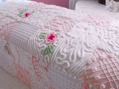 Vintage Chenille Patchwork Quilt with white fleece backing.