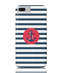 Striped Navy Anchor Phone Case - iPhone 7 Plus