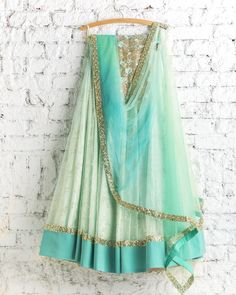Dreamy Mint Blue Green Lehenga Top 8 Candy Coloured Lehengas Of The Season That Will Make You Wish You Were Getting Married Today Why go for pastels when you can go all out pop? Lehenga Top, Green Lehenga, Indian Lehenga, Lehenga Choli, Anarkali, Lehnga Dress, Churidar, Pakistani, Indian Attire