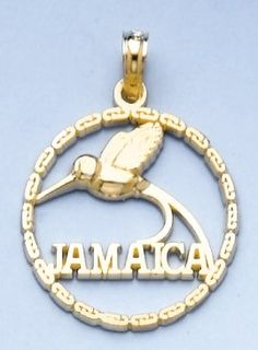 Amazon.com: 14k Gold Charm Jamaica Bird In Round Frame: Million Charms: Jewelry