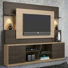 Affordable Wooden Tv Stands Design Ideas With Storage 08 - Tv wall decor Tv Stand Modern Design, Tv Stand Designs, Tv Cabinet Design Modern, Tv Unit Decor, Tv Wall Decor, Wall Tv, Tv Emoldurada, Modern Tv Wall Units, Modern Wall