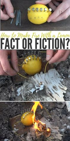 Camping Hack: How to Make Fire With a Lemon (Fact or Fiction?) | DIY Fire Hack | Campfire Trick | Natural Campfire Starter | Fire Starter for Survival | How to Make a Fire Starter with Lemons