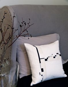 Quilted Modern Geometric Pillow Cover 18 X 18 Inches Black White and Cream